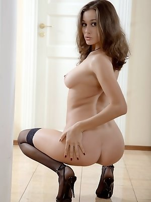 """""""Beuatiful brunette in sheer white lingerie, hold up stockings and high heels."""""""