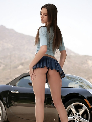 washes her car in a short skirt sans panties