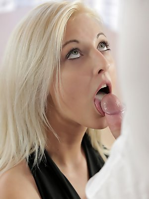 Blonde babe Katy Rose gets naked and gives her man a big blowjob and a stiffie ride in her creamy landing strip pussy